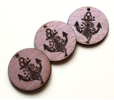 Laser Cut Supplies-1 Piece. Anchor Charms-Acrylic.Wood Laser Cut Shape