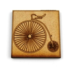 Laser Cut Supplies-1 Piece. Penny Farthing Tile-Acrylic. Wood Laser Cut Shape