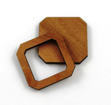 1 Piece. Square Angled Bezel Charms- Wood Laser Cut Shapes