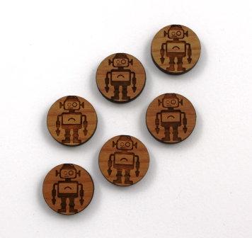 8 Pieces. Retro Robot Charms-Wood Laser Cut Shapes