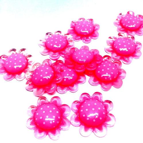 1 Piece. Pink Polka-dot Flower Resin Cabochon Flat Back Embellishments