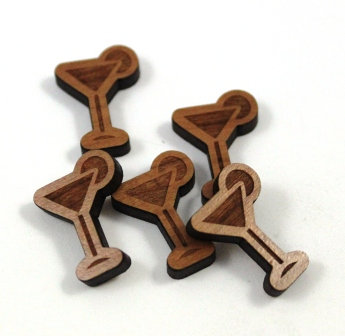 Laser Cut Supplies-8 Pieces. Martini Charms-Acrylic.Wood Laser Cut Shapes