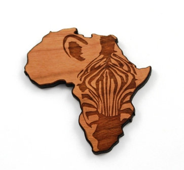 1 Piece. Africa and the Zebra Charms- Wood Laser Cut Shapes