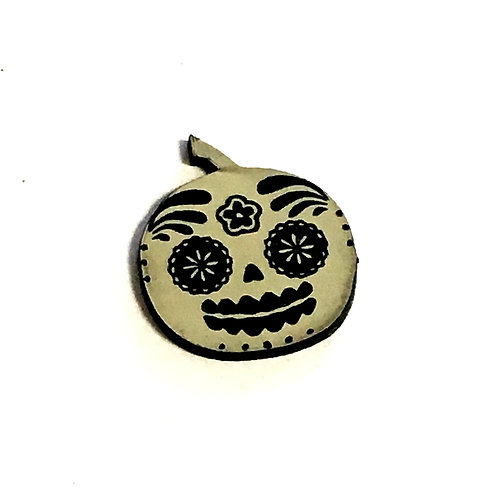 1 Piece. Flower Sugar Skull Cabochon -Acrylic Laser Cut Shapes