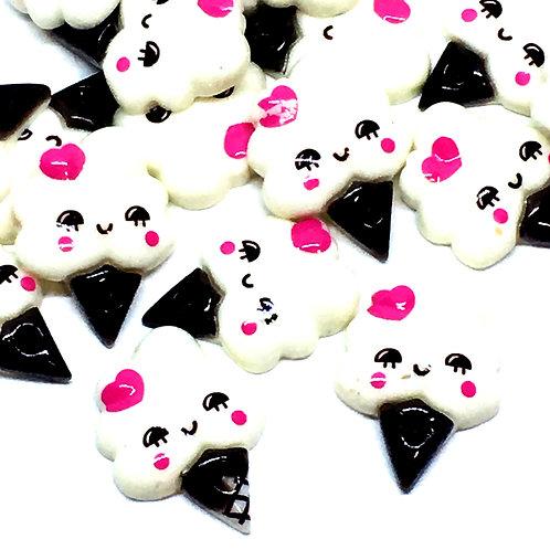 1 Piece.  Cute Kawaii Icecream Resin Cabochon Flat Back Embellishments