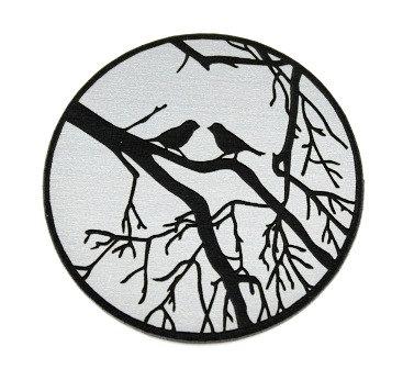 1 Piece. Birds in Brush Cabochon-Acrylic Laser Cut Shape