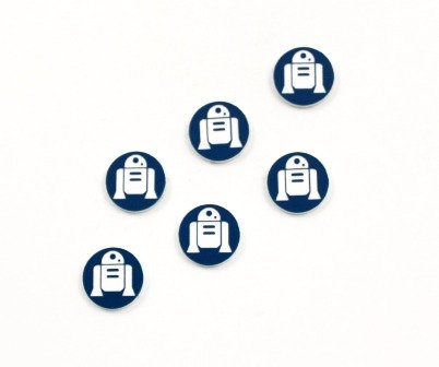 Laser Cut Supplies-8 Piece. R2D2 Charms-Acrylic and Wood Laser Cut Shapes