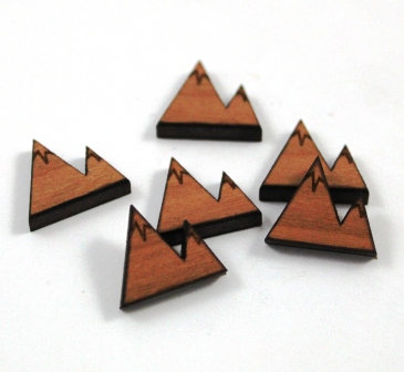 Laser Cut Supplies-8 Pieces. Mountain Charms-Acrylic.Wood Laser Cut Shapes