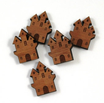 Laser Cut Supplies-8 Pieces. Haunted House Charms-Acrylic.Wood Laser Cut Shapes