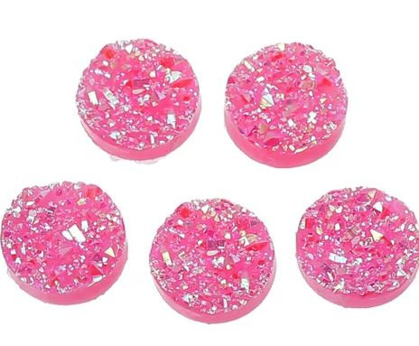 10 Pieces. Fairy Floss Sparkle. 12mm Round Glitter Resin Mini Charms