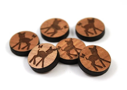 Laser Cut Supplies-8 Pieces. Fawn Charms-Acrylic.Wood Laser Cut Shapes