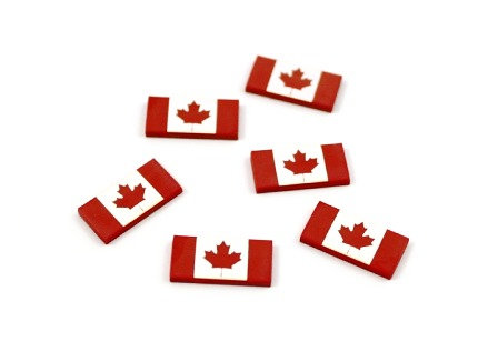 Laser Cut Supplies-8 Piece. Canada Flag Charms-Acrylic Laser Cut Shapes