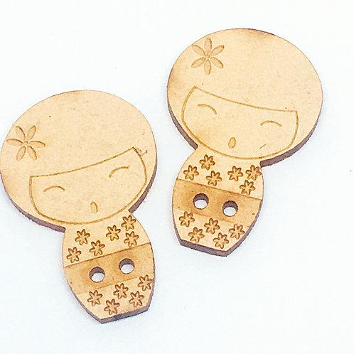 Lasercut Craft Wood Kokeshi Doll –1 Piece. 25mm Wide. Scrapbook. Wood Craft