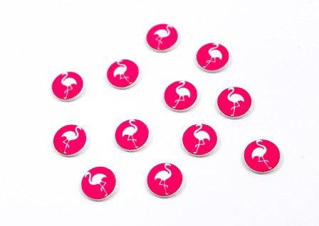 Laser Cut Supplies-8 Piece. Flamingo Charms-Acrylic and Wood Lasercut Shape