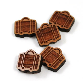 Laser Cut Supplies-8 Pieces. Suitcase Charms-Acrylic.Wood Laser Cut Shapes