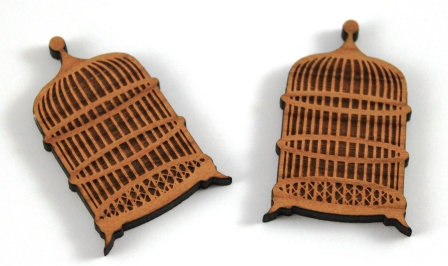 Laser Cut Supplies-1 Piece. Bird Cage Charms-Acrylic. Wood Laser Cut Shape