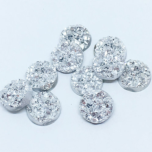 10 Pieces. White Silver Sparkle. 12mm Round Glitter Resin Mini Charms