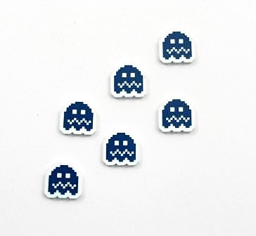 Laser Cut Supplies-8 Piece.Retro Ghost Charms-Acrylic and Wood Lasercut Shapes