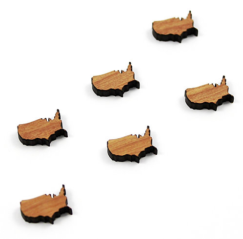8 Pieces. United States Mini Charms-Wood Laser Cut Shape