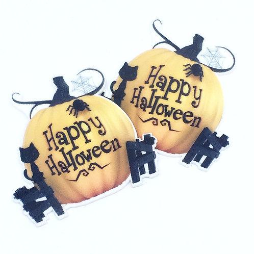 Laser Cut Supplies-2 Piece.45 mm Halloween Pumpkin Charms-Laser Cut Acrylic