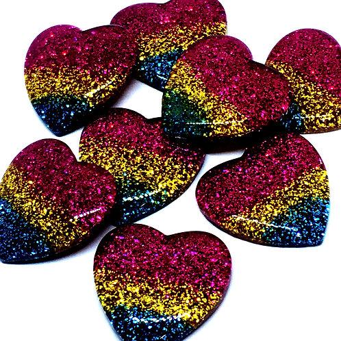 1 Piece. Chunky Glitter Heart Resin Cabochon Flatbacks