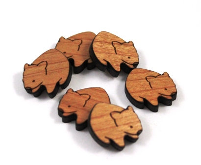 Laser Cut Supplies-8 Pieces. Wombat Charms-Acrylic.Wood Laser Cut Shapes