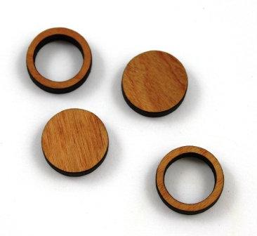 8 Pieces. Circle Bezel Mini Charms-Wood Laser Cut Shape
