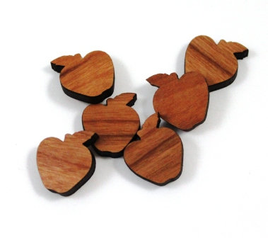 Laser Cut Supplies-8 Pieces.Apple Charms-Acrylic.Wood Laser Cut S