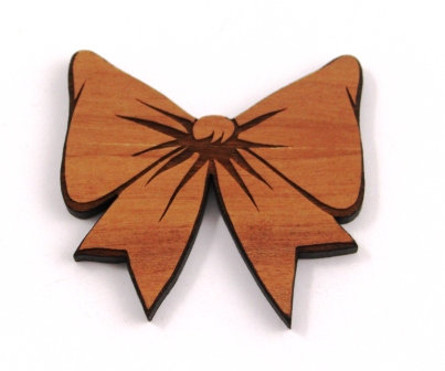 1 Piece. Ribbon Bow Charms- Wood Laser Cut Shapes