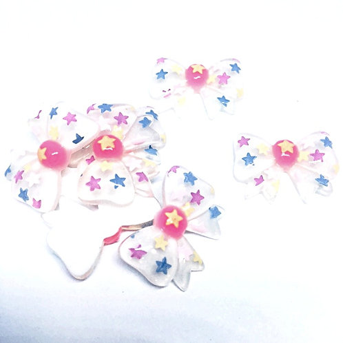 Little Colorful Star Print Ribbon and Bow Resin Flatback Cabochons - 6 pc