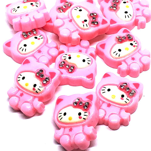 1 Piece. Pink Kitty With Rhinestone Resin Cabochon Flatbacks