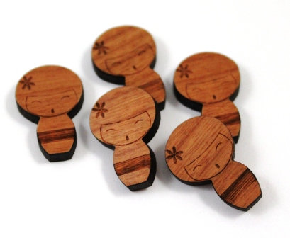 Laser Cut Supplies-8 Pieces. Kokeshi Doll Charms-Acrylic.Wood Laser Cut Shapes