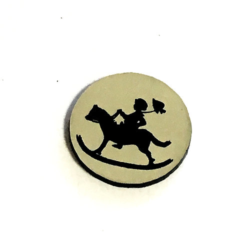 1 Piece. Vintage Boy And Rocking Horse Cabochon -Acrylic Laser Cut Shapes
