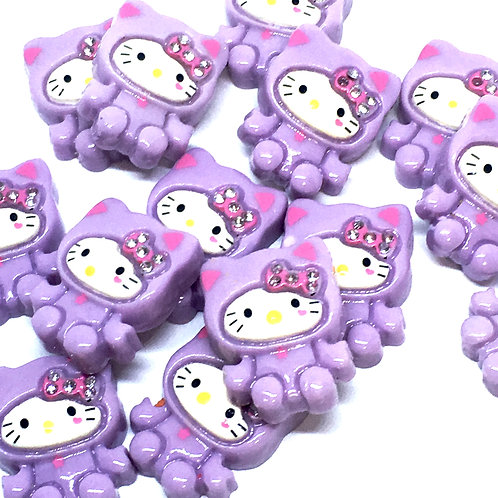 1 Piece. Lavender Kitty With Rhinestone Resin Cabochon Flatbacks