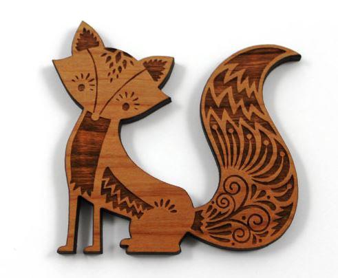 Laser Cut Supplies-1 Piece.Fox Charms-Acrylic.Wood Laser Cut Shape