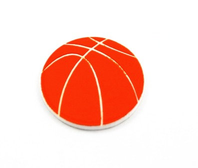 Laser Cut Supplies-8 Piece. Basket Ball Charms-Acrylic and Wood Lasercut Shapes
