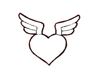 Laser Cut Heart and Wings Charm