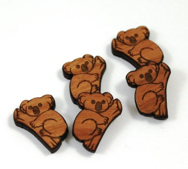 Laser Cut Supplies-8 Pieces. Koala Bear Charms-Acrylic.Wood Laser Cut Shapes
