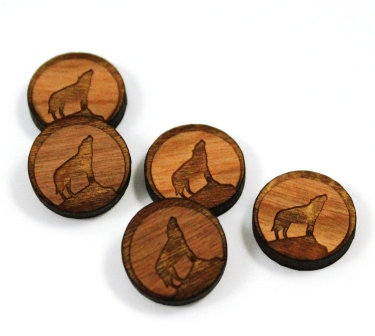 Laser Cut Supplies-8 Pieces. Coyote Charms-Acrylic.Wood Laser Cut Shapes