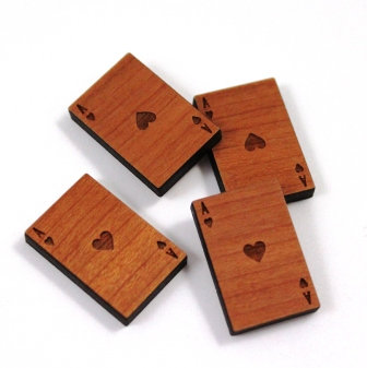 Laser Cut Supplies-8 Pieces.Playing Card Charms-Acrylic.Wood Laser Cut Shapes