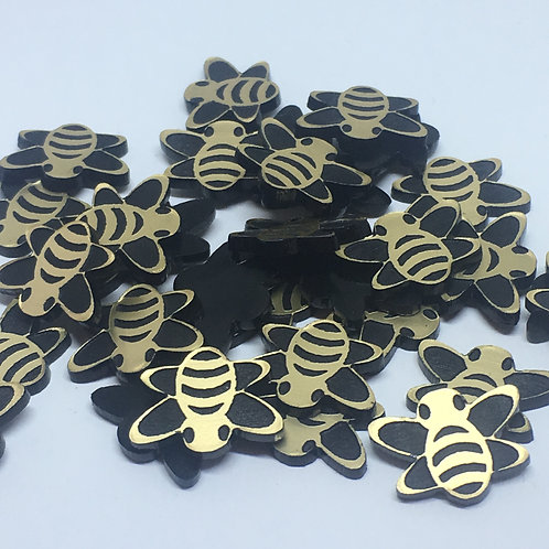 Laser Cut Supplies-8 Piece. Bee Charms-Acrylic and Wood Laser Cut Shapes