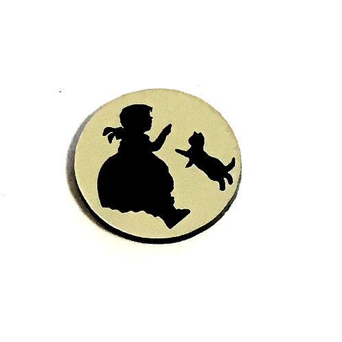 1 Piece. Vintage Little Girl And Cat Cabochon -Acrylic Laser Cut Shapes