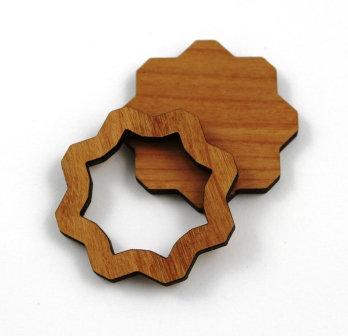 1 Piece. Flower Bezel Charms- Wood Laser Cut Shapes