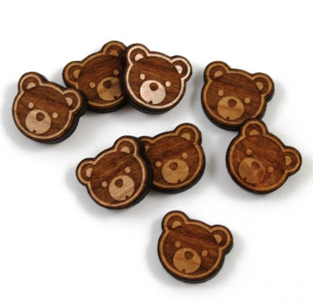 Laser Cut Supplies-8 Pieces.Teddy Bear Charms-Acrylic.Wood Laser Cut Shapes
