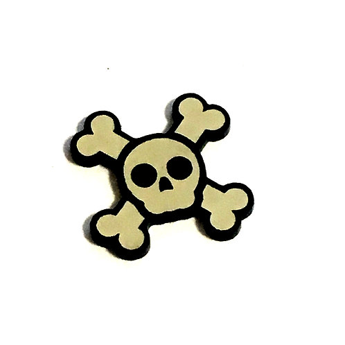 8 Piece. Skull and Cross Bone Mini Cabochons-Acrylic Laser Cut Shapes
