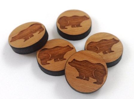 Laser Cut Supplies-8 Pieces. Bear Charms-Acrylic.Wood Laser Cut Shapes