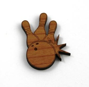 Laser Cut Supplies-1 Piece.Lets Bowl Charms-Acrylic. Wood Laser Cut Shape