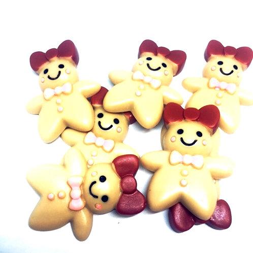 1 Piece. Gingerbread Girl Resin Cabochon Flatbacks