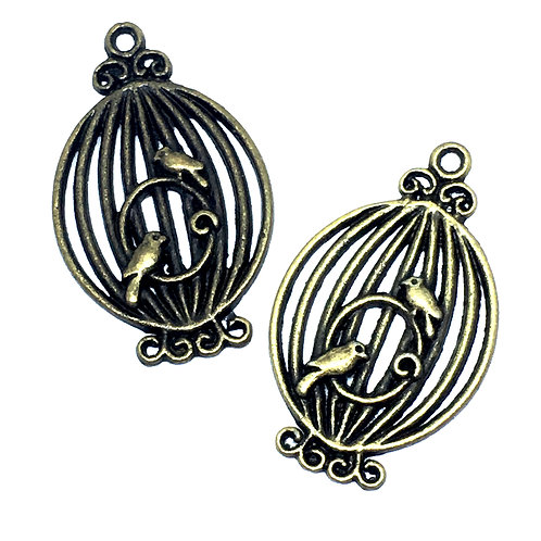 4 Piece. Birdcage Charms Pendant. Antique Bronze