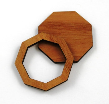 1 Piece. Octagon Bezel Charms- Wood Laser Cut Shapes